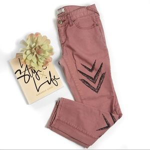 Free people dotted ikat arrow cropped  jeans